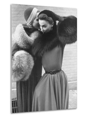 Ladies Modeling Tie on Collars and Matching Barrel Muffs Made of Natural Fox Skin-Gordon Parks-Metal Print