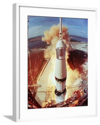Apollo 11 Space Ship Lifting Off on Historic Flight to Moon-Ralph Morse-Framed Art Print