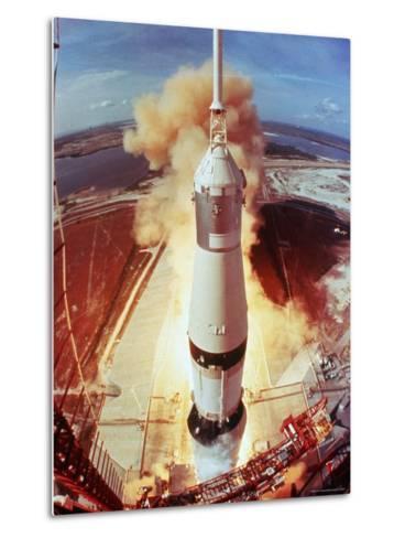 Apollo 11 Space Ship Lifting Off on Historic Flight to Moon-Ralph Morse-Metal Print
