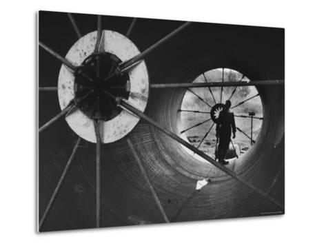 Part of 108 Inch Pipe That Will Be Used to Divert Water from the Jordan River to Negev Desert-Paul Schutzer-Metal Print