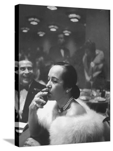 Woman Tries Lady's Cigar in Club After Release of Surgeon General's Report on Smoking Hazards-Ralph Morse-Stretched Canvas Print