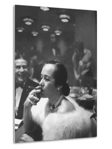 Woman Tries Lady's Cigar in Club After Release of Surgeon General's Report on Smoking Hazards-Ralph Morse-Metal Print