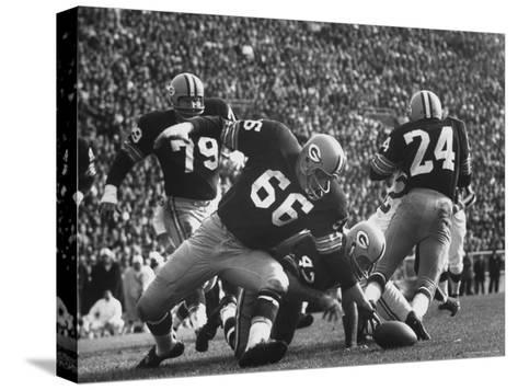 Green Bay Packers Playing a Game-George Silk-Stretched Canvas Print