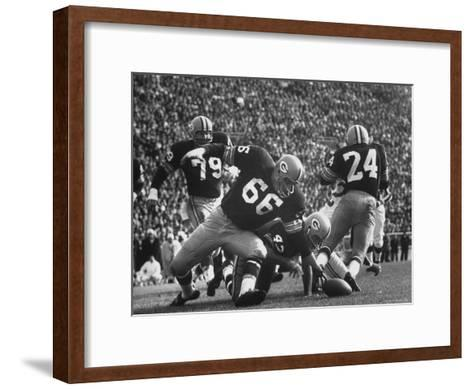 Green Bay Packers Playing a Game-George Silk-Framed Art Print