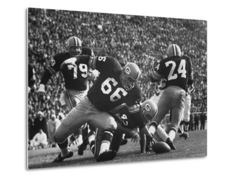 Green Bay Packers Playing a Game-George Silk-Metal Print