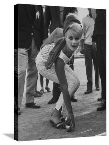 Elke Sommer Playing Petanque at the Cannes Film Festival-Paul Schutzer-Stretched Canvas Print