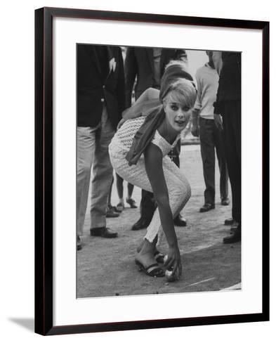 Elke Sommer Playing Petanque at the Cannes Film Festival-Paul Schutzer-Framed Art Print