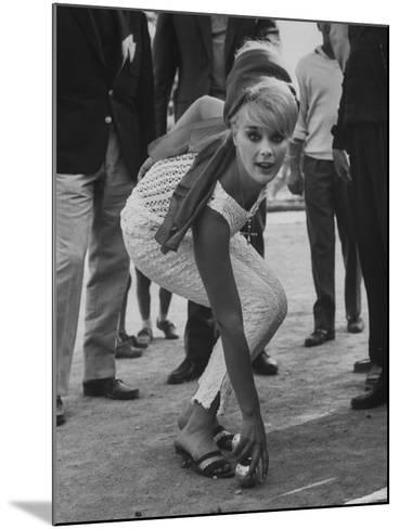 Elke Sommer Playing Petanque at the Cannes Film Festival-Paul Schutzer-Mounted Premium Photographic Print