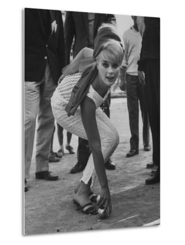 Elke Sommer Playing Petanque at the Cannes Film Festival-Paul Schutzer-Metal Print
