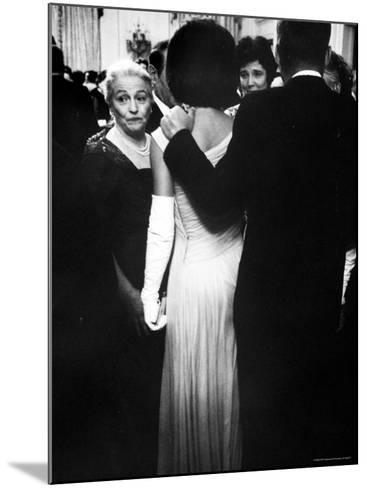 Pres.John F Kennedy and Wife with Author Pearl Buck at Party for Nobel Prize Winners at White House-Art Rickerby-Mounted Photographic Print