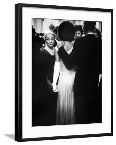 Pres.John F Kennedy and Wife with Author Pearl Buck at Party for Nobel Prize Winners at White House-Art Rickerby-Framed Art Print