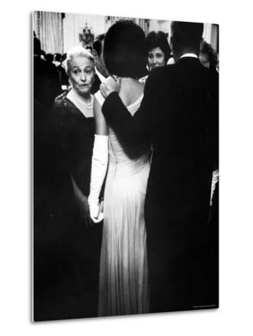Pres.John F Kennedy and Wife with Author Pearl Buck at Party for Nobel Prize Winners at White House-Art Rickerby-Metal Print