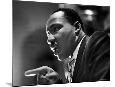 Rev. Martin Luther King Jr. Speaking in First Baptist Church at Rally for Freedom Riders-Paul Schutzer-Mounted Premium Photographic Print