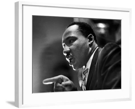Rev. Martin Luther King Jr. Speaking in First Baptist Church at Rally for Freedom Riders-Paul Schutzer-Framed Art Print