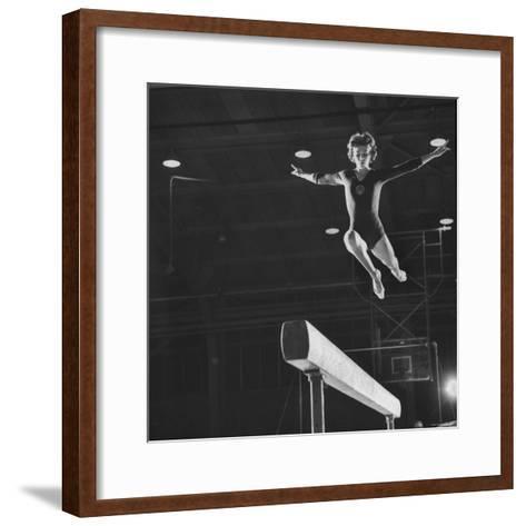 Soviet Gymnast Larisa Latnina in US Soviet Meet at West Chester State Teachers' College-George Silk-Framed Art Print