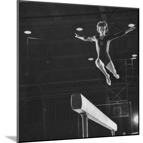 Soviet Gymnast Larisa Latnina in US Soviet Meet at West Chester State Teachers' College-George Silk-Mounted Photographic Print