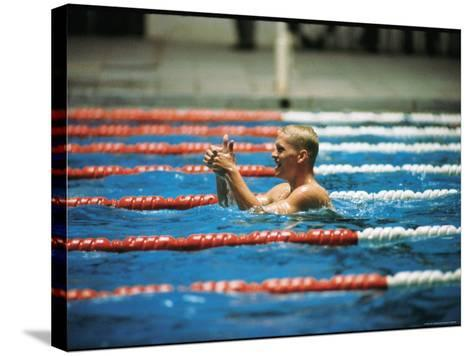 Don Schollander Gives Two Thumbs Up After Swimming Anchor on Relay Team at Summer Olympics-Art Rickerby-Stretched Canvas Print