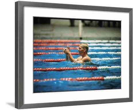 Don Schollander Gives Two Thumbs Up After Swimming Anchor on Relay Team at Summer Olympics-Art Rickerby-Framed Art Print