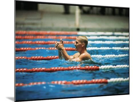 Don Schollander Gives Two Thumbs Up After Swimming Anchor on Relay Team at Summer Olympics-Art Rickerby-Mounted Premium Photographic Print