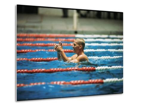 Don Schollander Gives Two Thumbs Up After Swimming Anchor on Relay Team at Summer Olympics-Art Rickerby-Metal Print