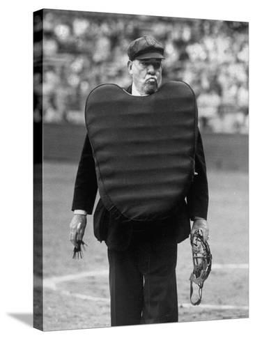 Umpire Bill Summers Glaring Toward Cleveland Indians Dugout-George Silk-Stretched Canvas Print
