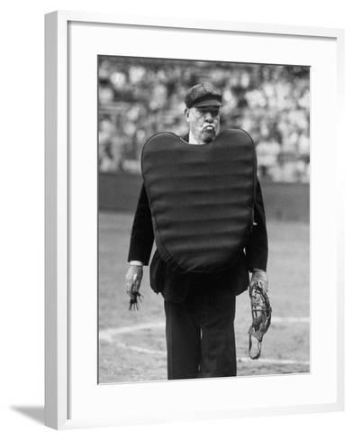 Umpire Bill Summers Glaring Toward Cleveland Indians Dugout-George Silk-Framed Art Print