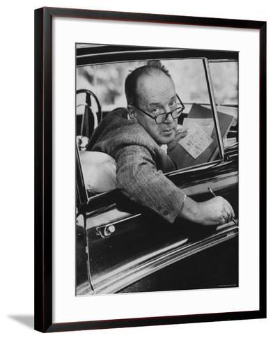 Author Vladimir Nabokov Writing in His Car. He Likes to Work in the Car, Writing on Index Cards-Carl Mydans-Framed Art Print