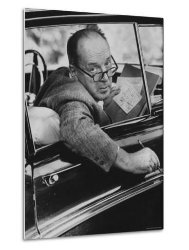 Author Vladimir Nabokov Writing in His Car. He Likes to Work in the Car, Writing on Index Cards-Carl Mydans-Metal Print