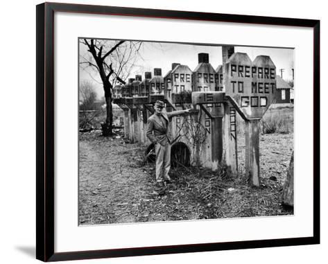 Pentecostal Zealot Harrison Mayes Standing with Religious Signs Made and Posted-Carl Mydans-Framed Art Print