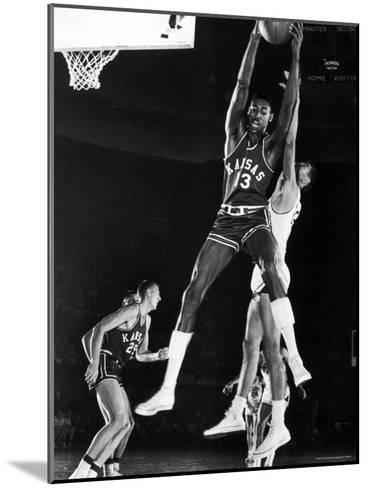 University of Kansas Basketball Star Wilt Chamberlain Playing in a Game-George Silk-Mounted Premium Photographic Print