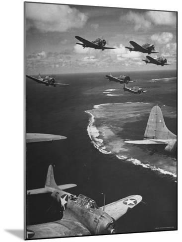 Squadron of US Douglas SBD3 Dive Bombers in Flight, Patrolling Coral Reefs Off Midway Island-Frank Scherschel-Mounted Photographic Print