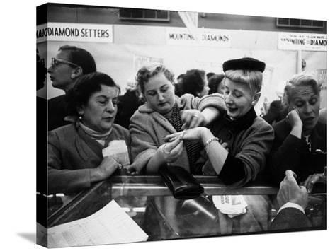 Well Dressed Women, All Mobbing Diamond Counters During Monster Diamond Sale at S. Klein's Store-Peter Stackpole-Stretched Canvas Print