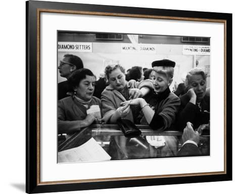 Well Dressed Women, All Mobbing Diamond Counters During Monster Diamond Sale at S. Klein's Store-Peter Stackpole-Framed Art Print