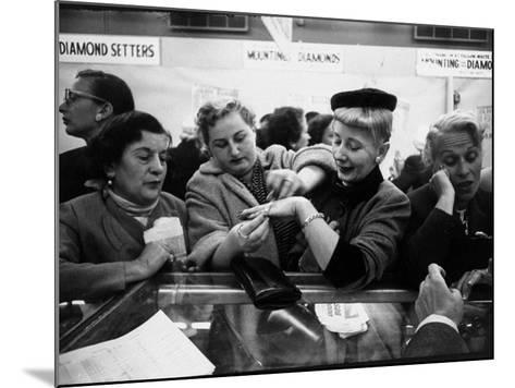 Well Dressed Women, All Mobbing Diamond Counters During Monster Diamond Sale at S. Klein's Store-Peter Stackpole-Mounted Photographic Print