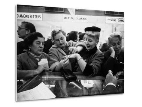 Well Dressed Women, All Mobbing Diamond Counters During Monster Diamond Sale at S. Klein's Store-Peter Stackpole-Metal Print