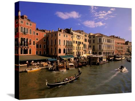 Boat Traffic by Rialto Bridge, Ponte Rialto, Venice, Veneto, Italy-Walter Bibikow-Stretched Canvas Print
