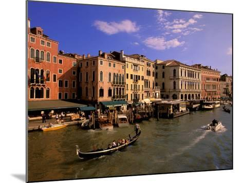 Boat Traffic by Rialto Bridge, Ponte Rialto, Venice, Veneto, Italy-Walter Bibikow-Mounted Photographic Print