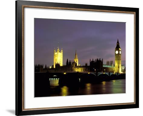 Big Ben and the Houses of Parliament at Night, London, England-Walter Bibikow-Framed Art Print