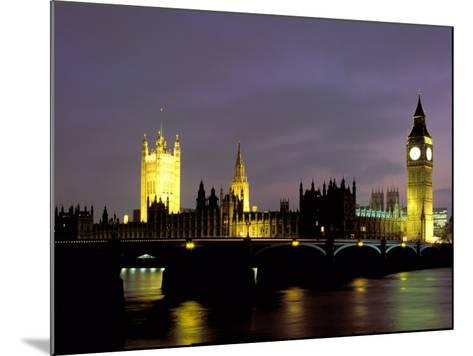 Big Ben and the Houses of Parliament at Night, London, England-Walter Bibikow-Mounted Photographic Print