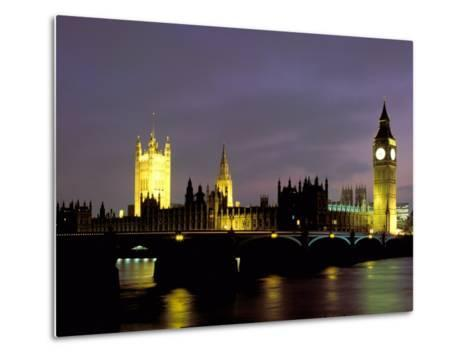 Big Ben and the Houses of Parliament at Night, London, England-Walter Bibikow-Metal Print