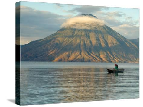 Reflections on Lake Atitlan with Fishing Boat, Panajachel, Western Highlands, Guatemala-Cindy Miller Hopkins-Stretched Canvas Print
