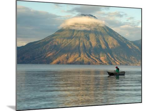 Reflections on Lake Atitlan with Fishing Boat, Panajachel, Western Highlands, Guatemala-Cindy Miller Hopkins-Mounted Photographic Print