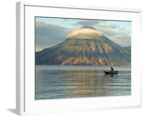 Reflections on Lake Atitlan with Fishing Boat, Panajachel, Western Highlands, Guatemala-Cindy Miller Hopkins-Framed Art Print