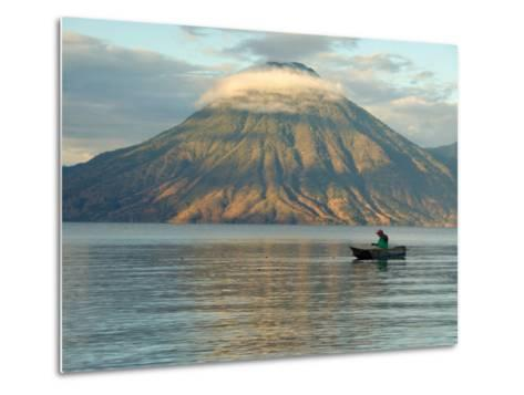 Reflections on Lake Atitlan with Fishing Boat, Panajachel, Western Highlands, Guatemala-Cindy Miller Hopkins-Metal Print
