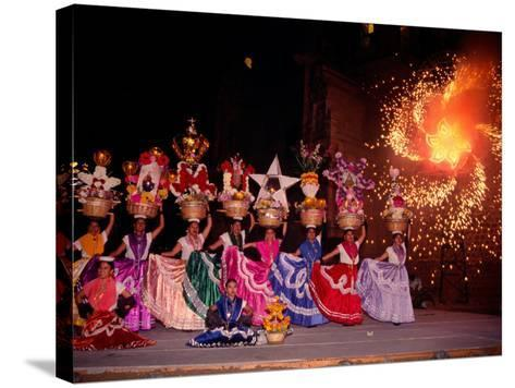 Dance and Fireworks called Bani Stui Gulal Tells the Story of the Guelaguetza, Oaxaca, Mexico-Igal Judisman-Stretched Canvas Print