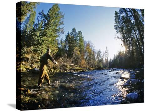 Fly-fishing the Jocko River, Montana, USA-Chuck Haney-Stretched Canvas Print