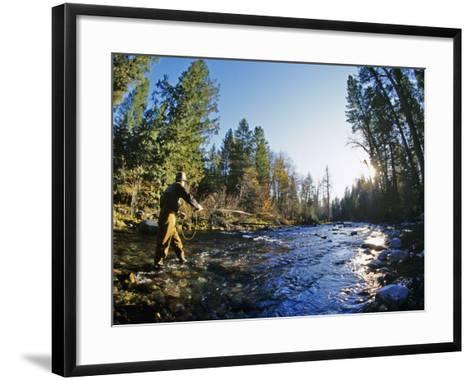 Fly-fishing the Jocko River, Montana, USA-Chuck Haney-Framed Art Print