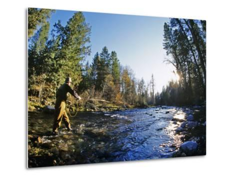 Fly-fishing the Jocko River, Montana, USA-Chuck Haney-Metal Print