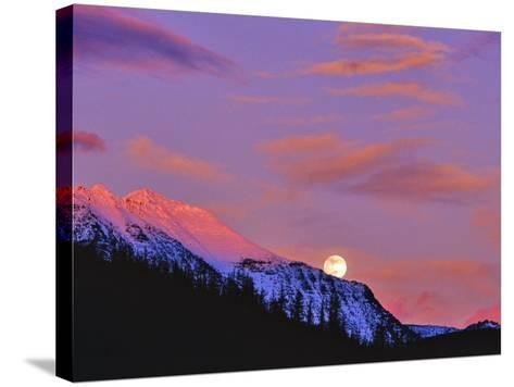 Full Moonrise over Cloudcroft Peaks, Glacier National Park, Montana, USA-Chuck Haney-Stretched Canvas Print