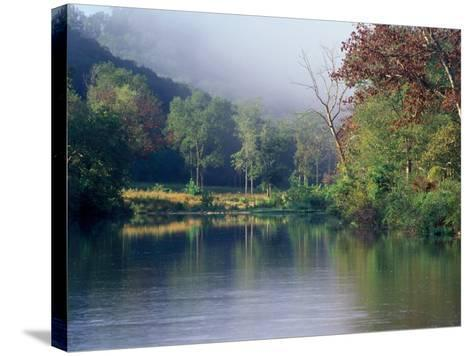 Morning Fog on River, Missouri, USA-Gayle Harper-Stretched Canvas Print